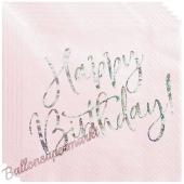Geburtstagsservietten Happy Birthday Rosa Glitter