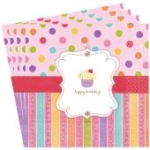Happy Birthday Servietten, Sweet Stuff, Dekoration Geburtstag