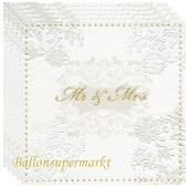 Servietten zur Hochzeit, Mr & Mrs, gold, geprägt