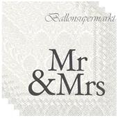 Servietten zur Hochzeit, Mr & Mrs, schwarz