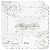 Servietten zur Hochzeit, Mr & Mrs, silber, geprägt