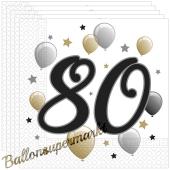 Servietten Milestone 80 zum 80. Geburtstag, 20 Stück