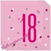 Servietten Pink & Silver Glitz 18 zum 18. Geburtstag