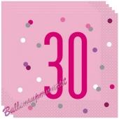 Servietten Pink & Silver Glitz 30 zum 30. Geburtstag