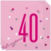 Servietten Pink & Silver Glitz 40 zum 40. Geburtstag