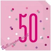 Servietten Pink & Silver Glitz 50 zum 50. Geburtstag