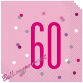 Servietten Pink & Silver Glitz 60 zum 60. Geburtstag