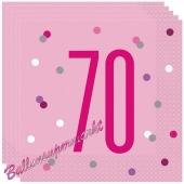 Servietten Pink & Silver Glitz 70 zum 70. Geburtstag