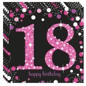 Servietten Pink Celebration, zum 18. Geburtstag