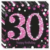 Servietten Pink Celebration 30, zum 30. Geburtstag