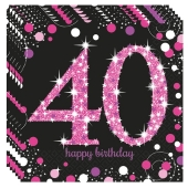 Servietten Pink Celebration 40, zum 40. Geburtstag