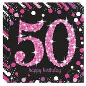 Servietten Pink Celebration 50, zum 50. Geburtstag