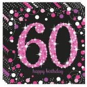 Servietten Pink Celebration 60, zum 60. Geburtstag