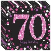 Servietten Pink Celebration 70, zum 70. Geburtstag