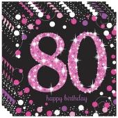 Servietten Pink Celebration 80, zum 80. Geburtstag