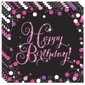Geburtstagsservietten pink Celebration Birthday, 16 Stück