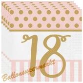 Servietten Pink Chic, zum 18. Geburtstag