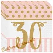 Servietten Pink Chic 30 zum 30. Geburtstag