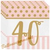 Servietten Pink Chic 40, zum 40. Geburtstag