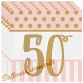 Servietten Pink Chic 50, zum 50. Geburtstag
