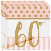 Servietten Pink Chic 60, zum 60. Geburtstag