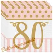 Servietten Pink Chic 80, zum 80. Geburtstag