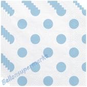 Deko-Servietten, Weiß mit Punkten in Hellblau, 20 Stück
