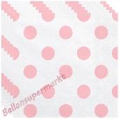 Deko-Servietten, Weiß mit Punkten in Rosé, 20 Stück