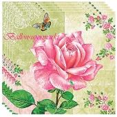 Servietten zur Hochzeit, große Rose, pink, 20 Stück, 3-lagig