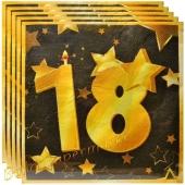 Servietten Zahl 18 Schwarz-Gold, zum 18. Geburtstag