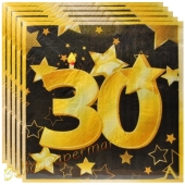 Servietten Zahl 30 Schwarz-Gold, zum 30. Geburtstag