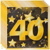 Servietten Zahl 40 Schwarz-Gold, zum 40. Geburtstag