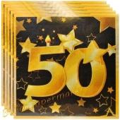 Servietten Zahl 50 Schwarz-Gold, zum 50. Geburtstag