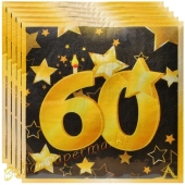 Servietten Zahl 60 Schwarz-Gold, zum 60. Geburtstag
