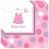 Servietten Babyparty Mädchen, Shower with Love Girl