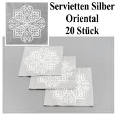 Servietten Orient Silber, Tischdeko-Papierservietten, 20 Stück, Party 1001-Nacht