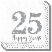 25 Happy Years, Servietten zur Silbernen Hochzeit