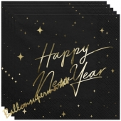 Silvesterdeko Partyservietten Happy New Year Golden Sparkle Black
