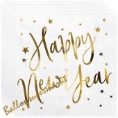 Silvesterdeko Partyservietten Happy New Year Golden Sparkle White