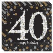 Servietten Sparkling Celebration 40, zum 40. Geburtstag