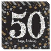 Servietten Sparkling Celebration 50, zum 50. Geburtstag