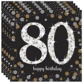 Servietten Sparkling Celebration 80, zum 80. Geburtstag