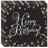 Geburtstagsservietten Sparkling Celebration Birthday, 16 Stück