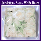 Servietten Svea - Weiße Rosen, 20 Stück, 3-lagig