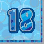 Servietten Zahl 18, Blau, zum 18. Geburtstag