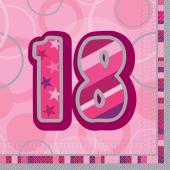 Servietten Zahl 18, Pink, zum 18. Geburtstag
