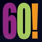 Servietten Geburtstag, Zahl 60, zum 60. Geburtstag, Birthday Cheer Party