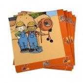 Servietten zum Kindergeburtstag, 3-lagig, Thema Baustellenparty