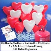 Luftballons zur Hochzeit steigen lassen, 100 rote und weiße Herzluftballons Helium-Einweg Set mit Ballonflugkarten