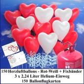 Luftballons zur Hochzeit steigen lassen, 150 rote und weiße Herzluftballons Helium-Einweg Set mit Ballonflugkarten